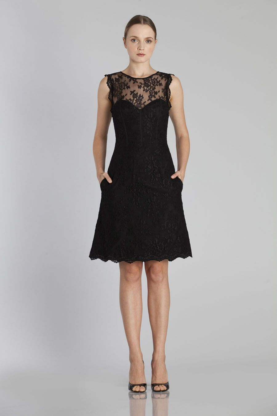 Lace A-line Short Crew Neck Bridesmaid Dress with Pockets ...