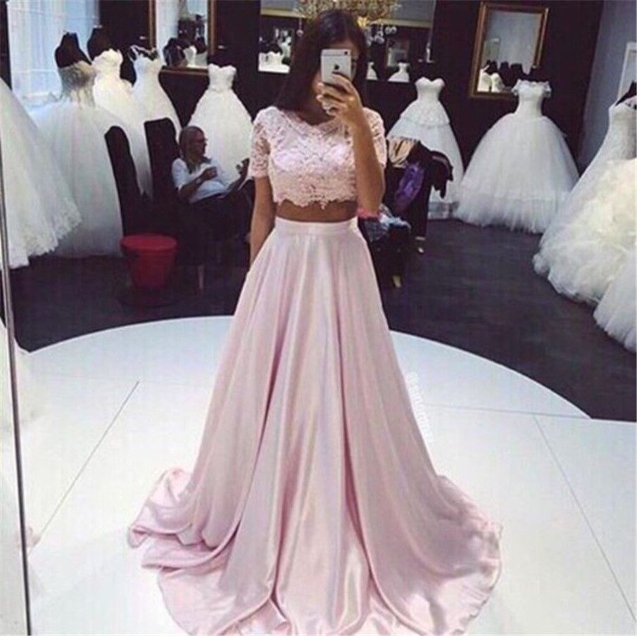 Pink two piece short sleeves lace top satin prom dress prom