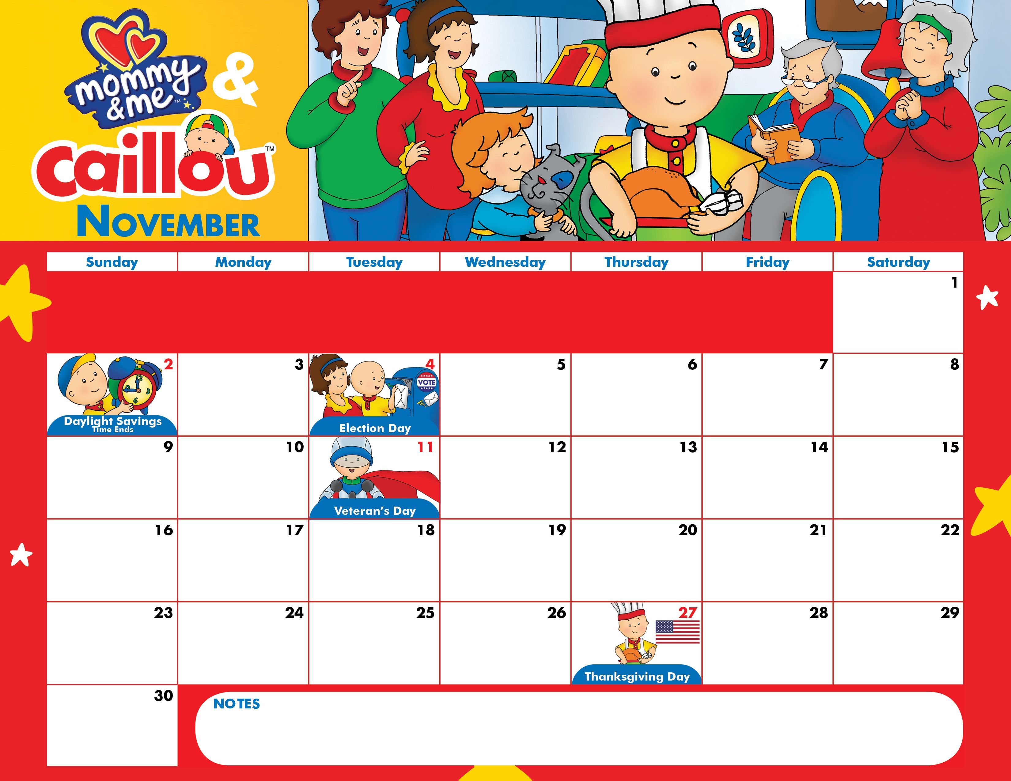 Celebrate November With This Adorable Mommy Amp Me And Caillou Calendar Download This Free
