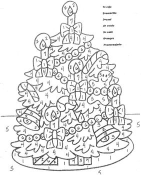 El Arbol de Navidad- Christmas Tree-Color by Number in