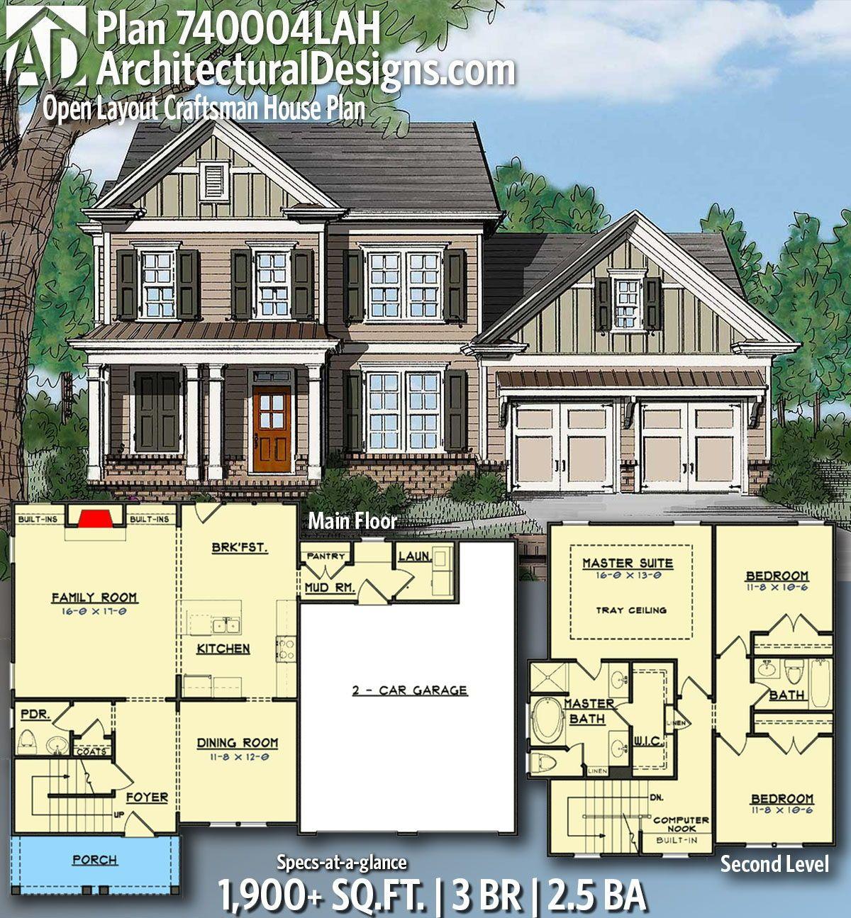Plan 740004lah Open Layout Craftsman House Plan In 2020 Craftsman House Plans Craftsman House Craftsman House Plan