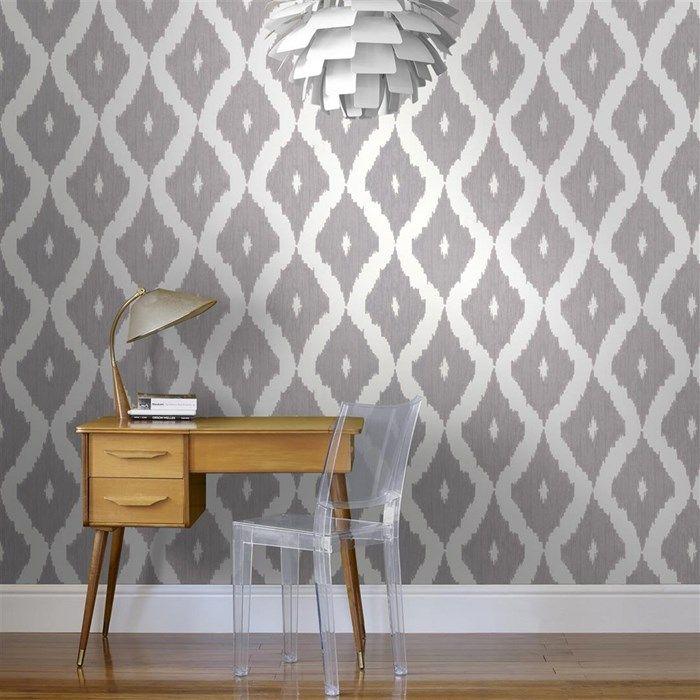 Master Bedroom Wallpaper option - Kellys Ikat Wallpaper by Kelly Hoppen - Designer Gray Wall Coverings by Graham  Brown I like the light fixture too