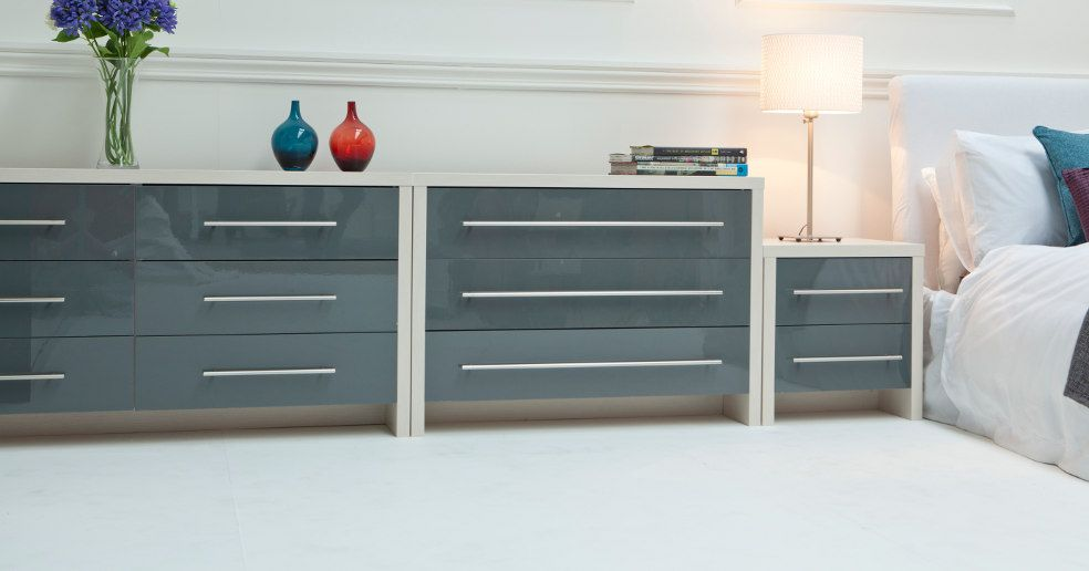 Best Modern Grey High Gloss Finish Modular Bedroom Chests 400 x 300