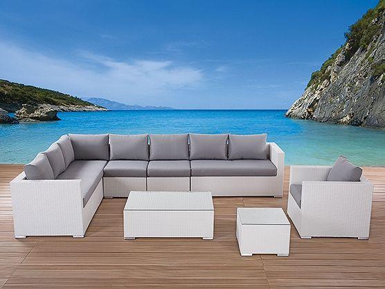 Outdoor Sectional White Wicker Patio Furniture Home Garden   Gartenmobel  Weis Rattan