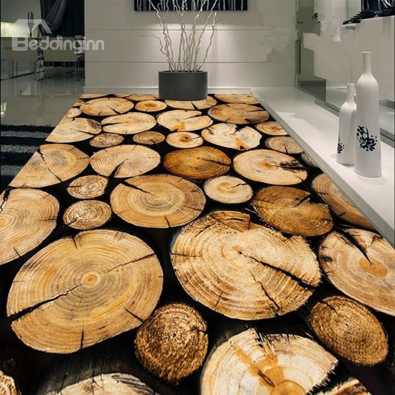 Creative Design Round Tree Rings Print Nonslip And Waterproof 3d