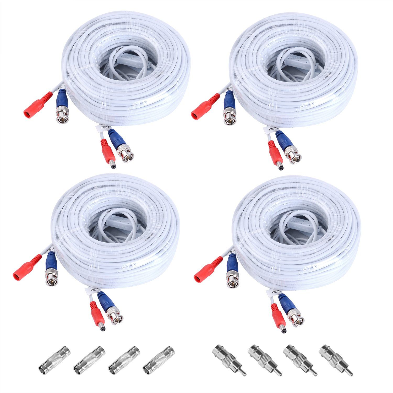 Sannce 4 pack 30m 100 feet bnc video power cable for cctv camera sannce 4 pack 30m 100 feet bnc video power cable for cctv camera dvr security publicscrutiny Image collections