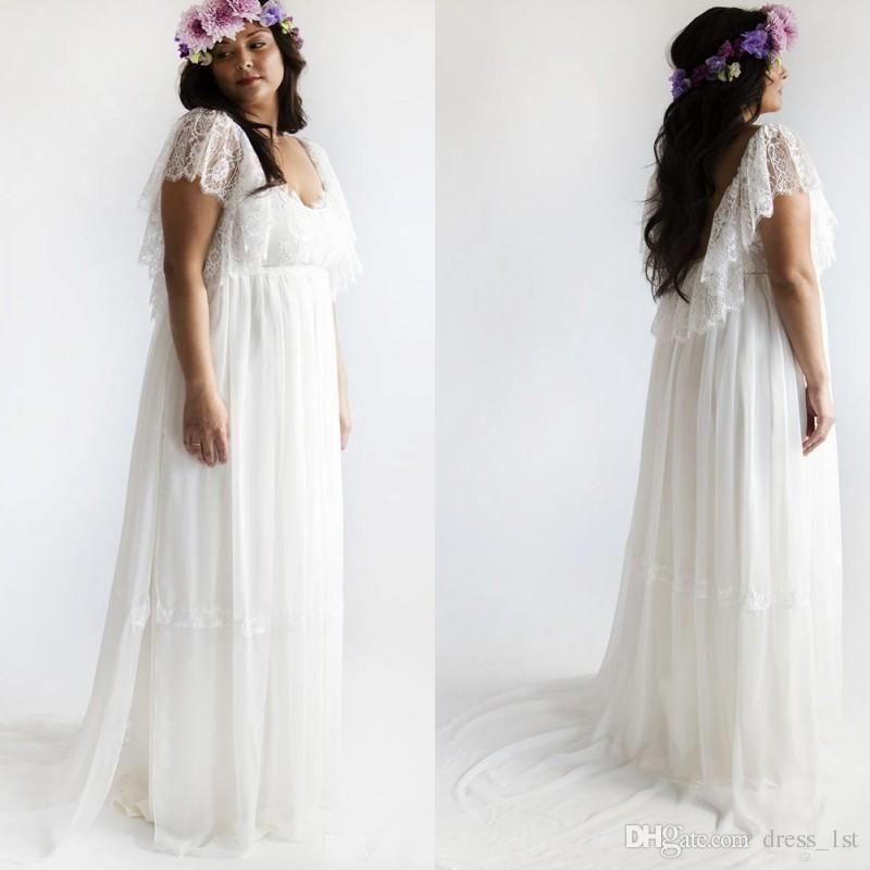 Plus Size Bohemian Chiffon Wedding Dress Bridal Gown Custom Size 16 ...