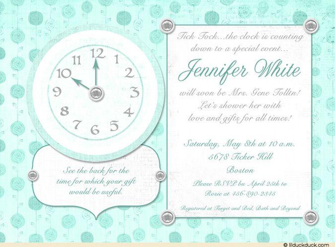 Around The Clock Bridal Shower Invitations Wedding Time Shower