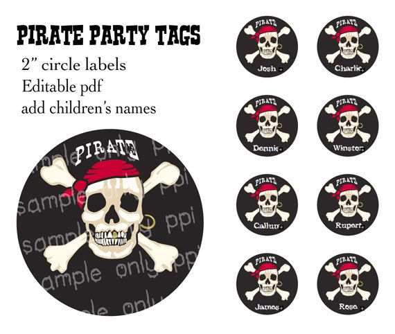 Pirate Party 2 circle labels  editable PDF  by PrintablePartyIdeas, $3.00