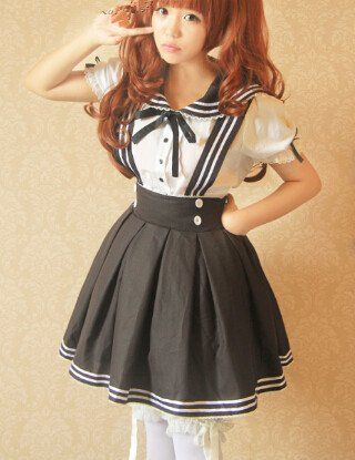c7da139aca Cute kawaii sailor straps skirt+shirt two-piece - Use the code