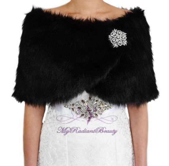 Photo of Faux Fur Wrap, Black Fur Stole, Bridal Cape, Faux Fur Stole,…