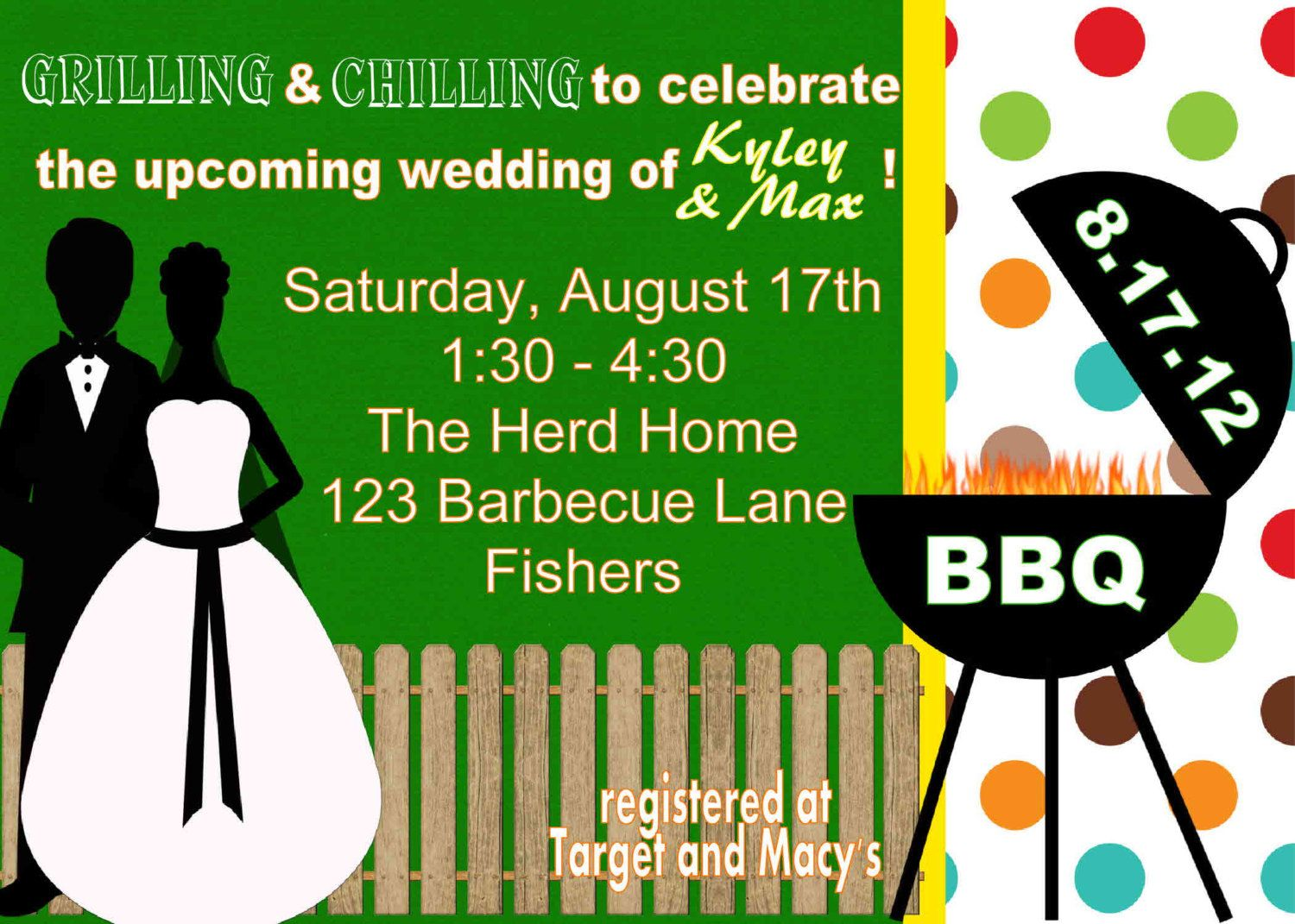digital bbq barbecue couples wedding by spencervillejunction