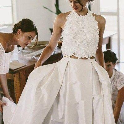 Two Piece Wedding Dress Prom Dress, Long Prom Dress, 2017 Prom Dress Wedding Dress