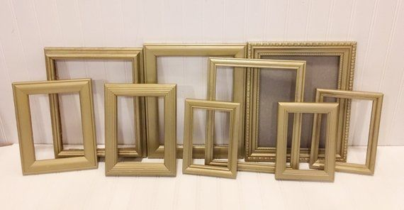 Gallery Wall Decor, Vintage, Wedding Decoration, Mid Century Modern, Bedroom Decor, Gold Frames, Pic is part of Modern bedroom Gold - anycolorshabbychicwalldecorrustic ref shop home active 8