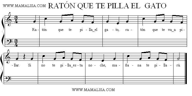 Partitura Ratón Que Te Pilla El Gato Canciones De Niños Partituras Ratones