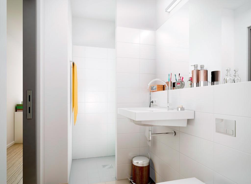 Helles Badezimmer mit weißen Fliesen in Hamburg #bathroom - badezimmer hamburg