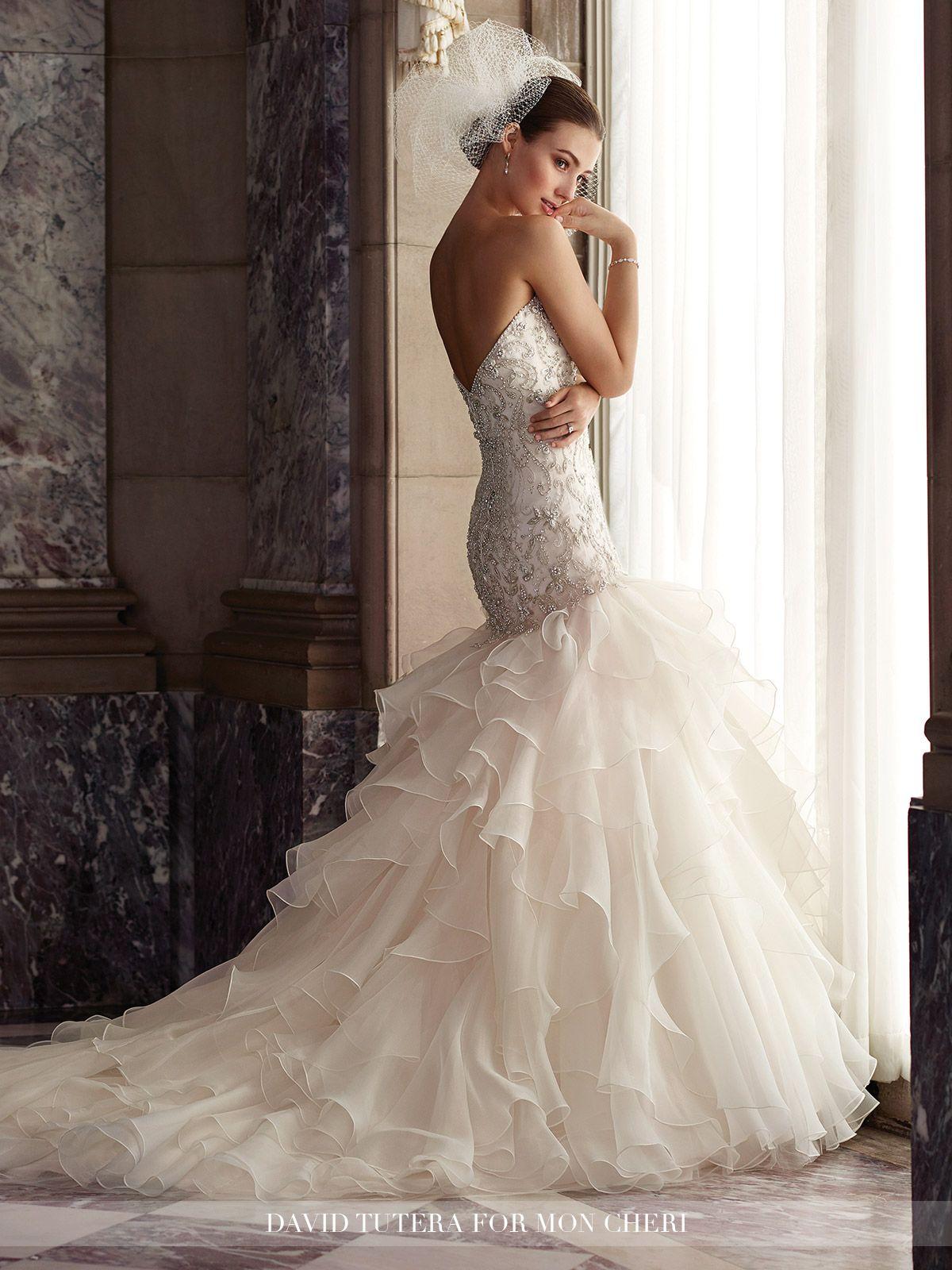 Spectacular Dramatic Strapless Ruffled u Tiered Trumpet Wedding Dress Dior