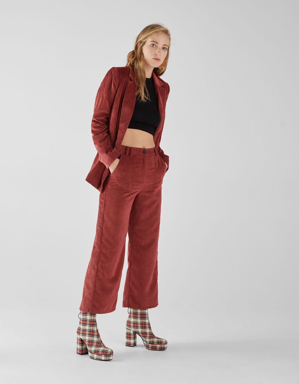 Corduroy culottes  Bershka fashion newin new trend trendy