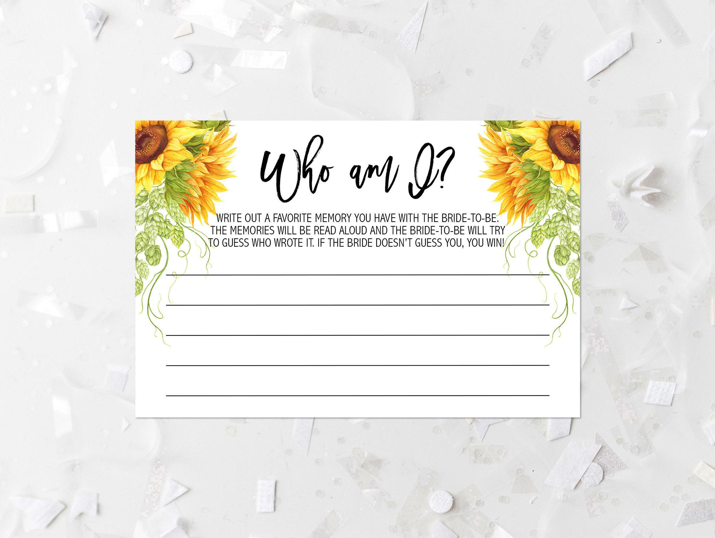 Sunflower Who Am I Bridal Shower Game Printable Rustic Bridal