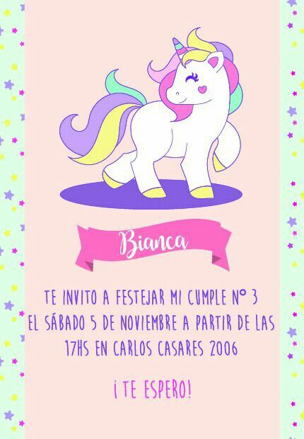 Invitación Para Cumpleaños De Bianca Unicornio Unicorn
