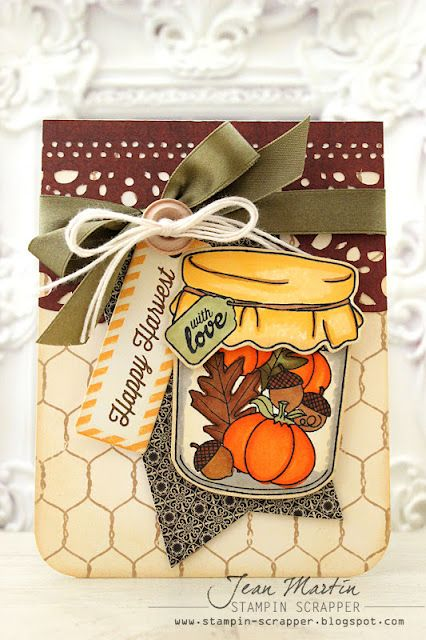 Stampin Scrapper: Waltzingmouse Stamps September Blog Party - love how she's coloured the jar with pens too.