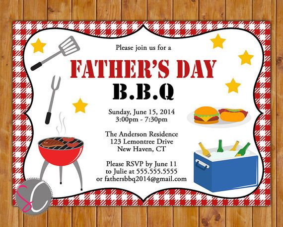 Father's Day Backyard BBQ Invite Cookout Picnic Party Celebration ...