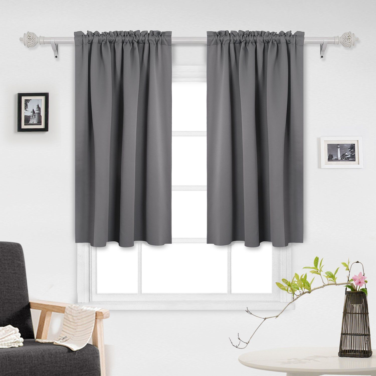 Deconovo Gray Blackout Curtains Rod Pocket Thermal Curtains Outdoor