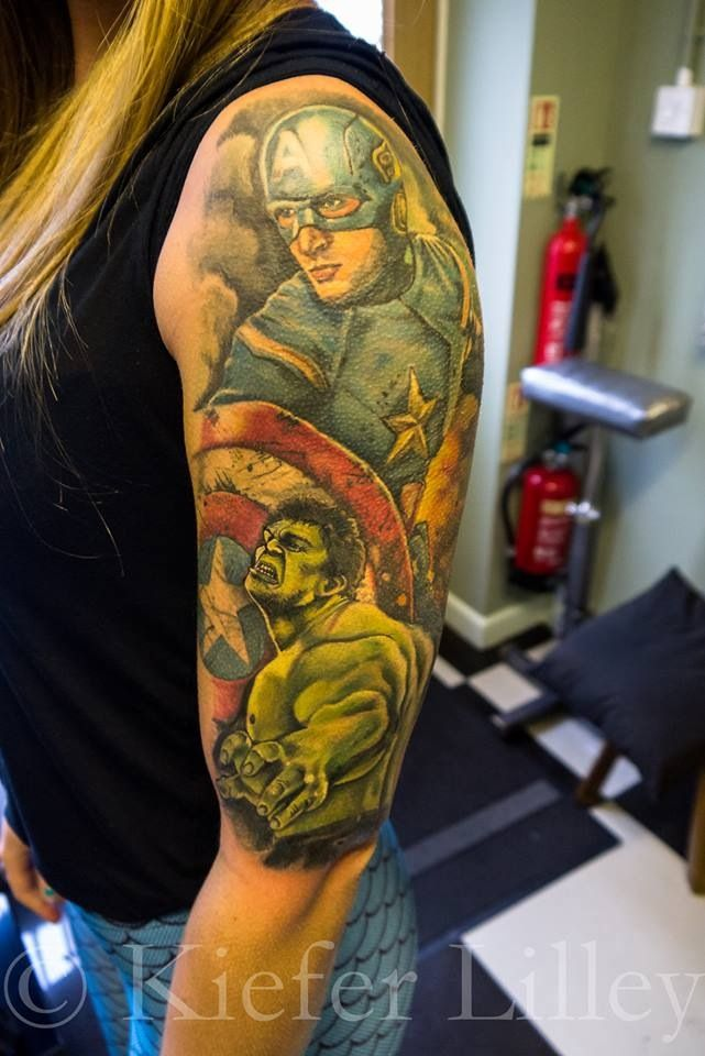 avengers sleeve 3 characters down it looks amazing stuff pinterest tattoo avengers. Black Bedroom Furniture Sets. Home Design Ideas