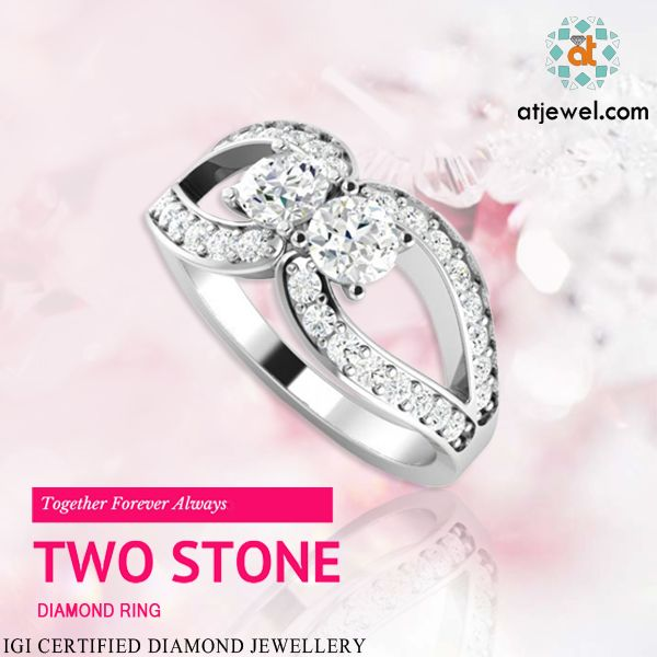 Design Of The Day....... Atjewel Introducing This Beautiful Spark Two Stone Diamond Ring.Just Be With Each Other Always. #Atjewel #Diamond #TwoStone #Gold  http://bit.ly/2aCC29Y