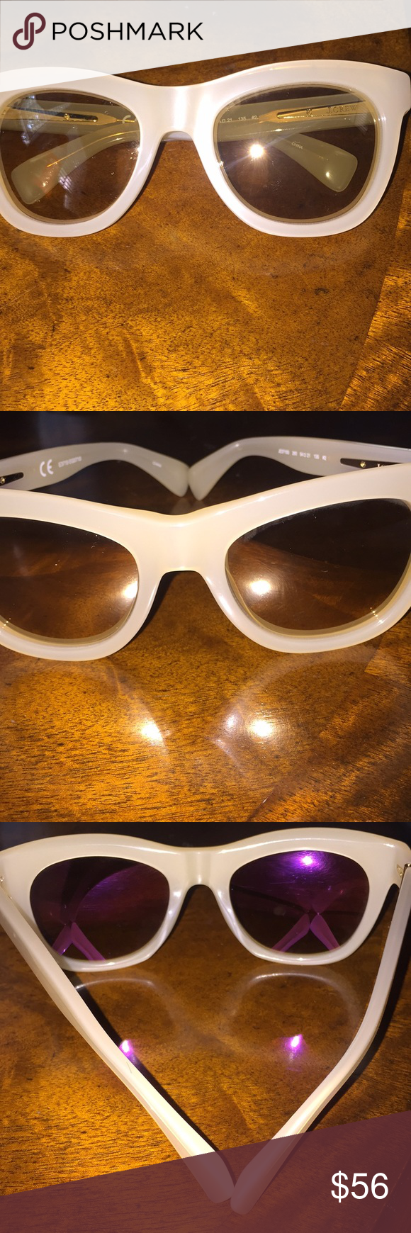 020a021867 J. Crew Betty Sunglasses J. Crew Betty oversized sunglasses in gorgeous  cream frame and bronze reflection. Brand new -never worn with case and  cleaning ...