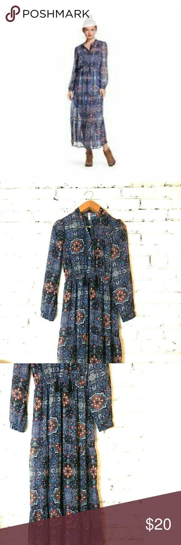 4 20 Xhilaration Maxi Dress Maxi Dress With Sleeves Long Sleeve Maxi Dress Dresses [ 1740 x 580 Pixel ]