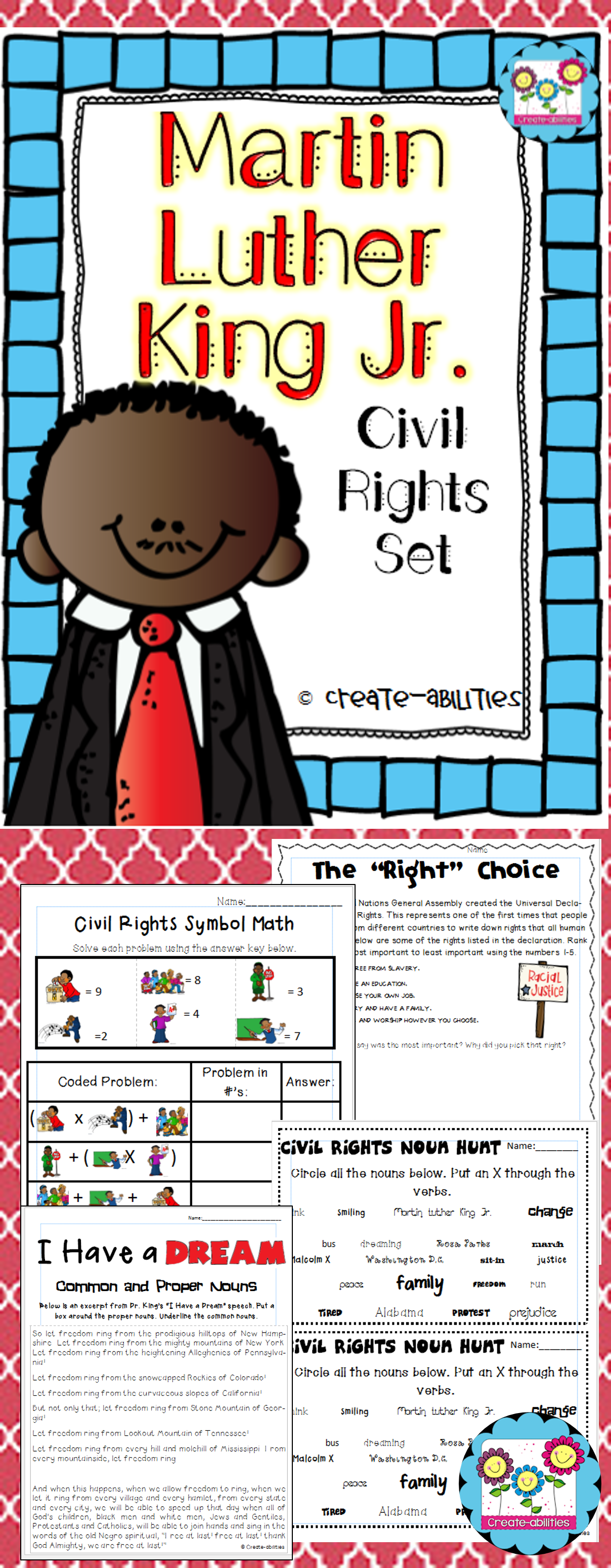 Martin Luther King Jr Civil Rights Pack Math Reading