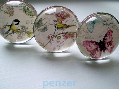 Vtg painted nature glass drawer door pulls cupboard knobs handle ...