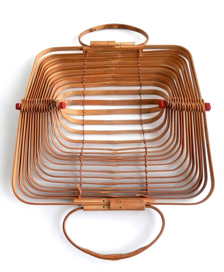 Mid Century Japanese Folding Bamboo Bag Occupied Japan Bamboo Bags
