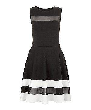 5795ffe76 Found on the Newlook website.Cameo Rose Black Contrast Mesh Panel Skater  Dress,£19.99. Uploaded onto Pinterest December 2015.
