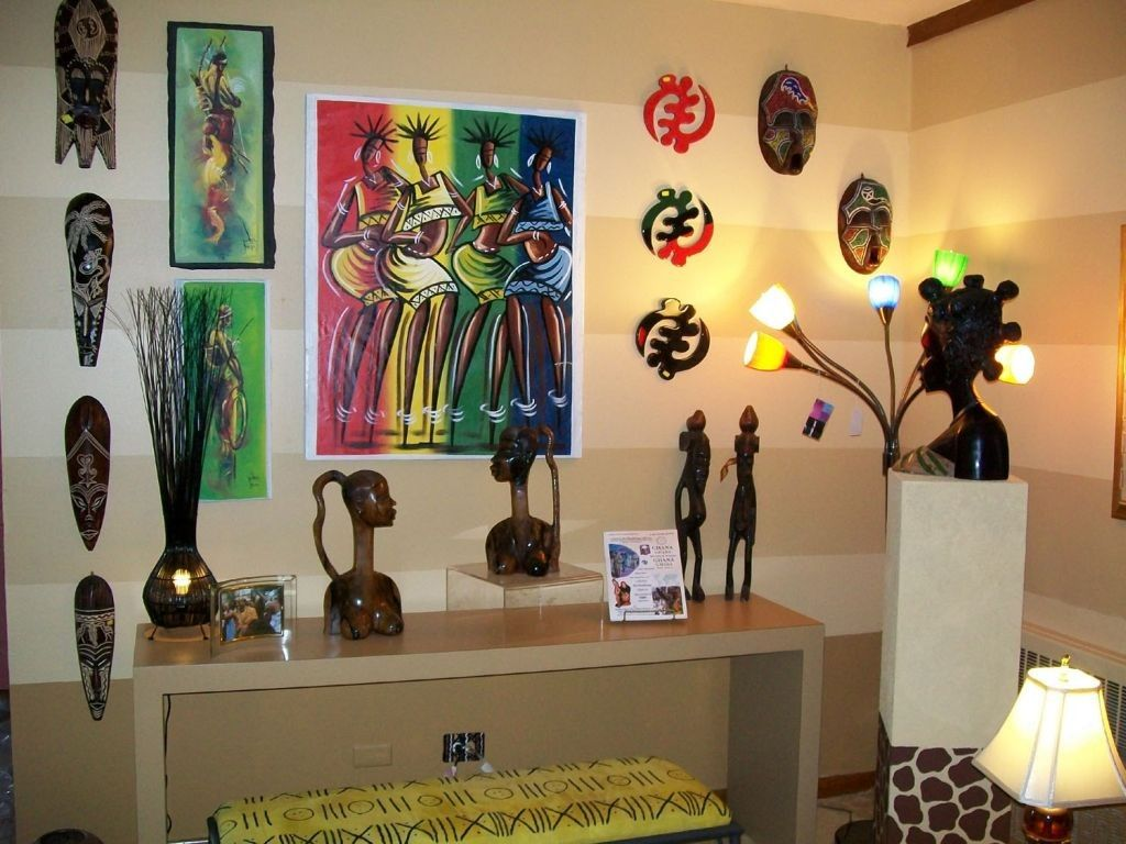 Wall Mask Decor Adorable African Living Room Decor With Statuettes And Masks  Modern Decorating Inspiration
