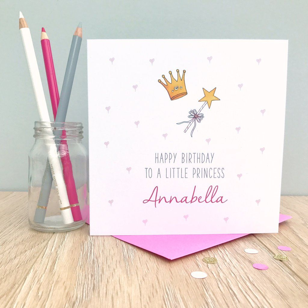 Personalised Girls Princess Birthday Card To a little