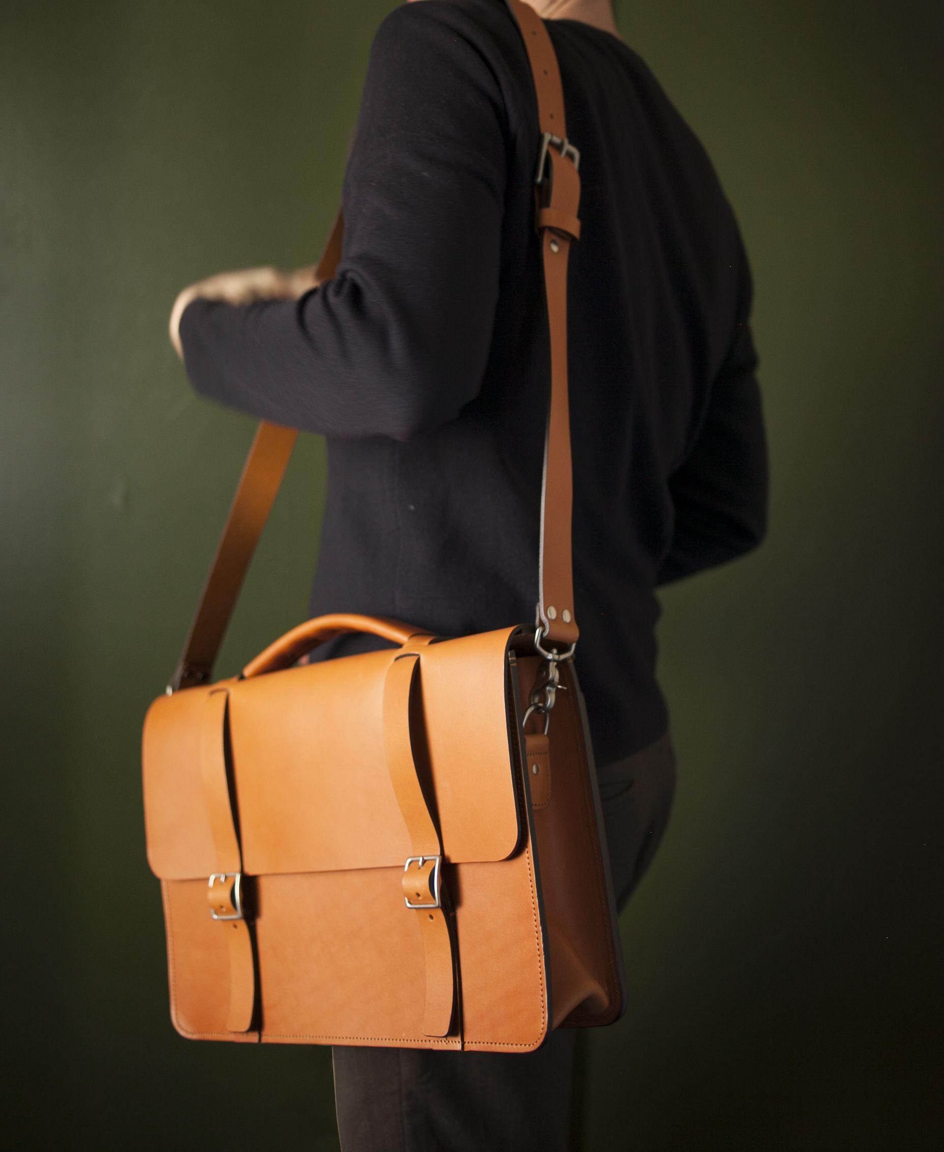 3f0aeaee407ba Handmade Classic Messenger Bag with divided Gusset - English Tan ...
