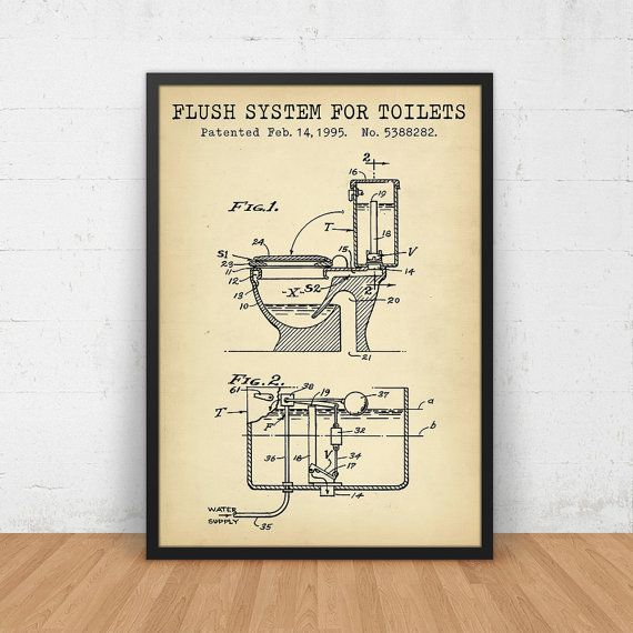 Bathroom Poster Flush System For Toilets Patent Art Printable Digital Download Blueprint Toilet Print Vintage Invention