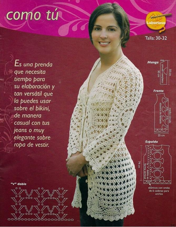 Chaqueta Larga Crochet Instrucciones Patron - Patrones Crochet ...
