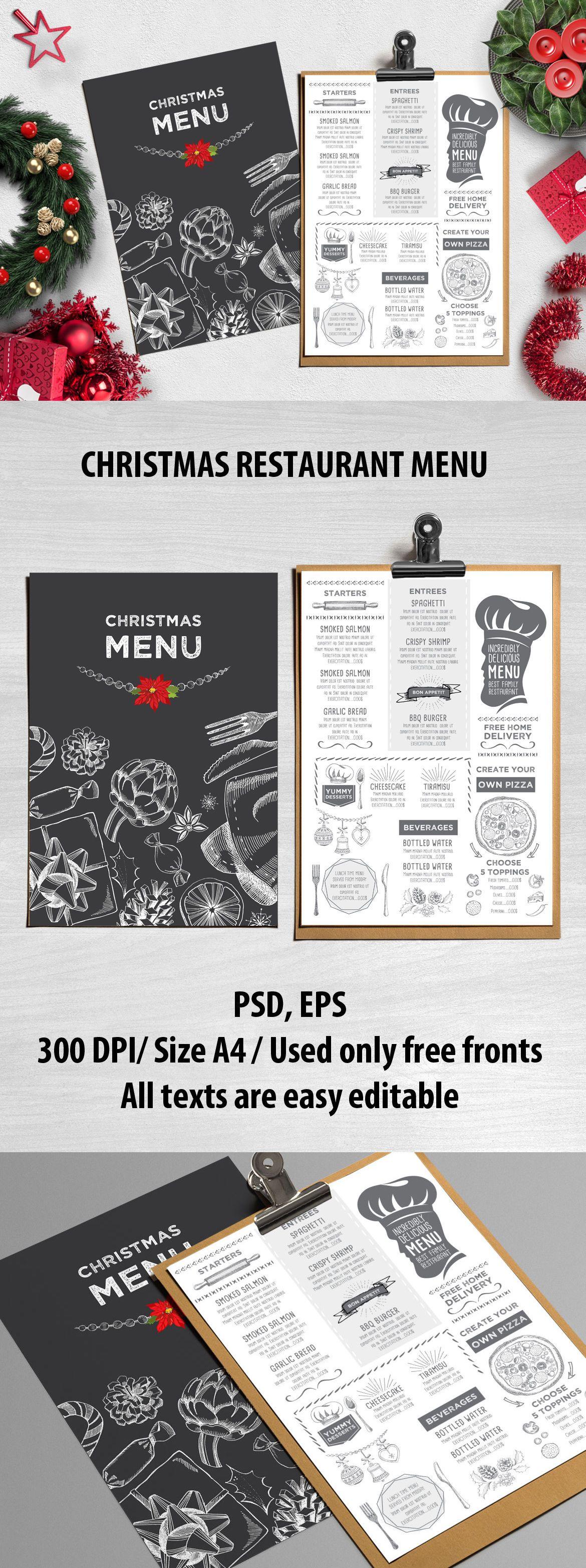 christmas menu restaurant template vector eps psd best food menu