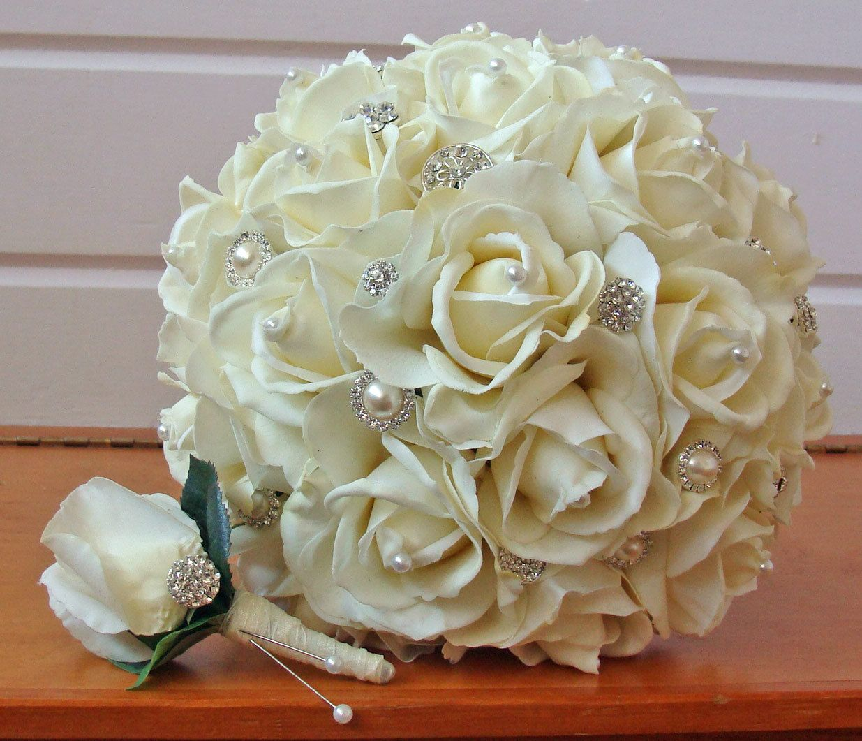 Silk flower bridal bouquet real touch roses rhinestones in ivory silk flower bridal bouquet real touch roses rhinestones in ivory and real touch rose grooms boutonniere choose your color 25000 via etsy izmirmasajfo