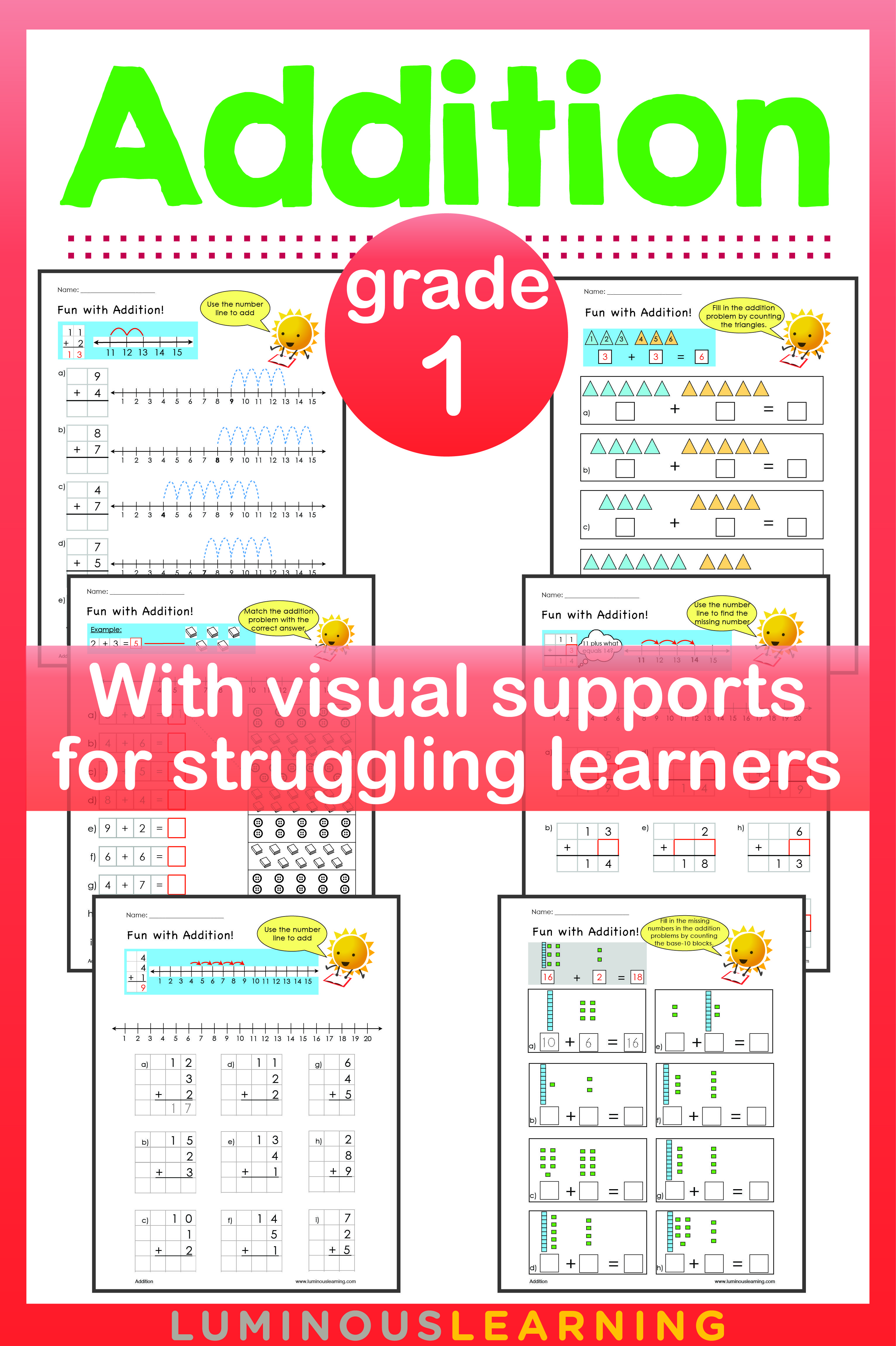 Luminous Learning Grade 1 Addition Workbook Provides Math