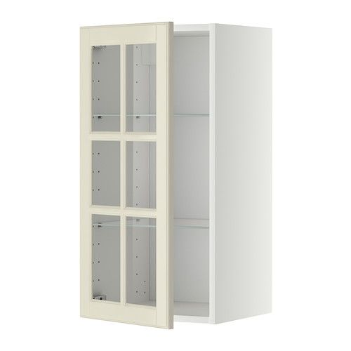 metod wall cabinet w shelves glass door white bodbyn off white 40 x rh pinterest com
