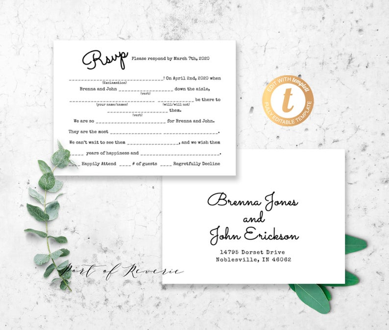 Mad Libs Card Wedding RSVP Postcard Wedding Madlibs Rsvp