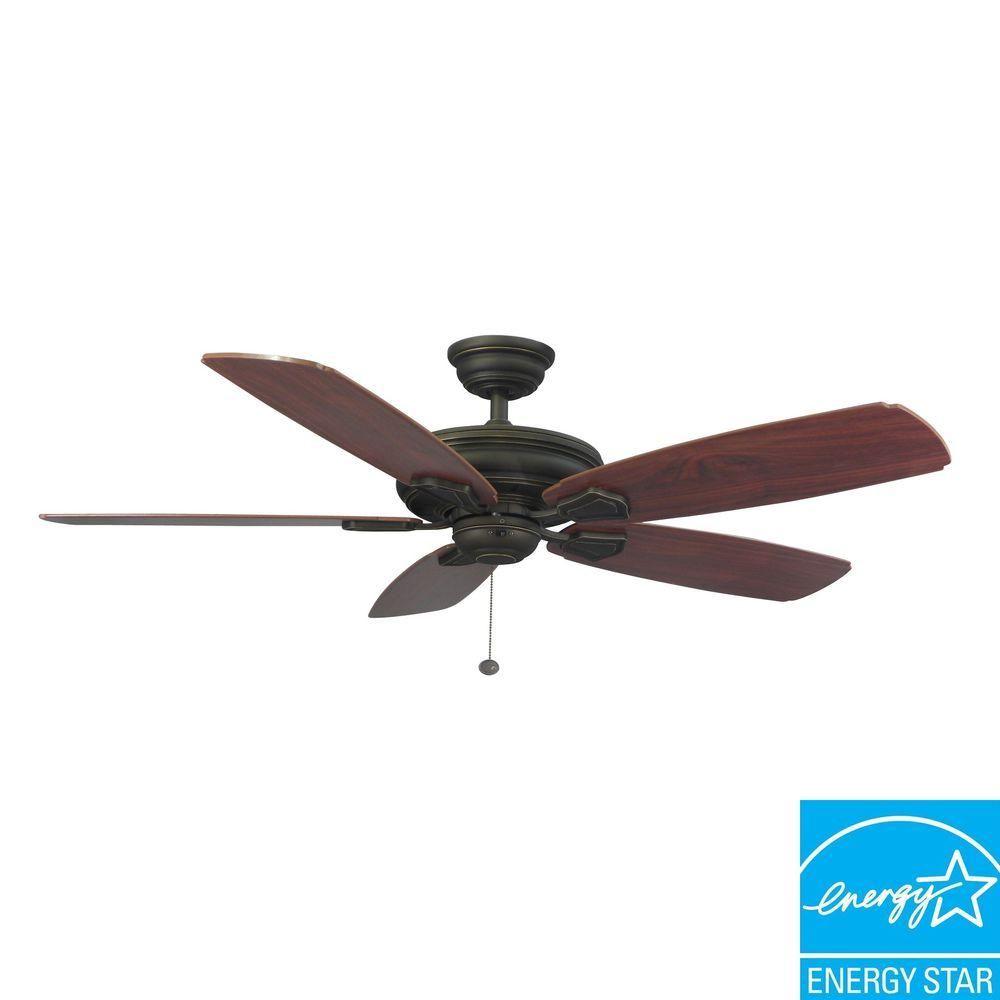 Hampton Bay Heirloom 52 In Indoor Outdoor Oil Rubbed Bronze Ceiling Fan 51218 The Home Depot Bronze Ceiling Fan Ceiling Fan Hampton Bay