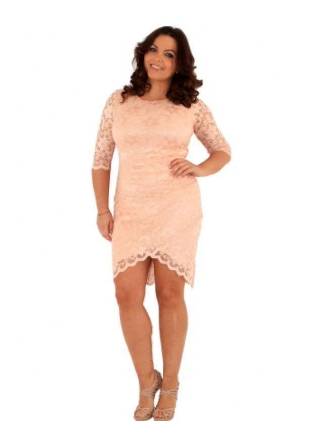 Plus Size Gorgeous pink lace stretchy dress Plus size 16-26 U.K. Made Fantastic quality and value for money  #dress #plussize #OOTD #cococouture #fashion #style #fashionblogger Order online, U.K. And international postage