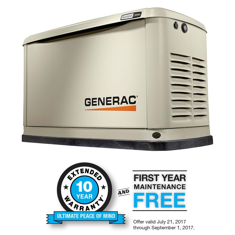 Generac 20 000 Watt Air Cooled Standby Generator 7038 Transfer Switch Diy Generator Home Depot