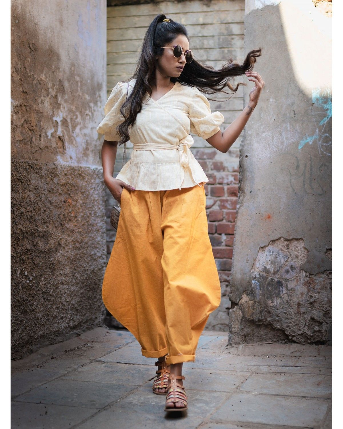 657a889ffa Mustard Baggy Khadi Ankle Pants Top Set in 2019 | Summer Outfit ...