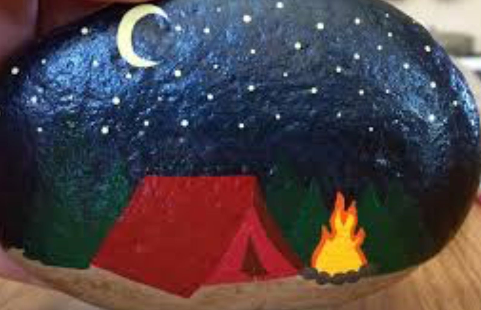 Night Camping Tent Painted Rock Rock Painting Designs Rock